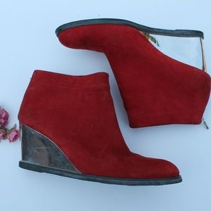 ARCHE LN WEDGE RED SUEDE ANKLE BOOTS 38